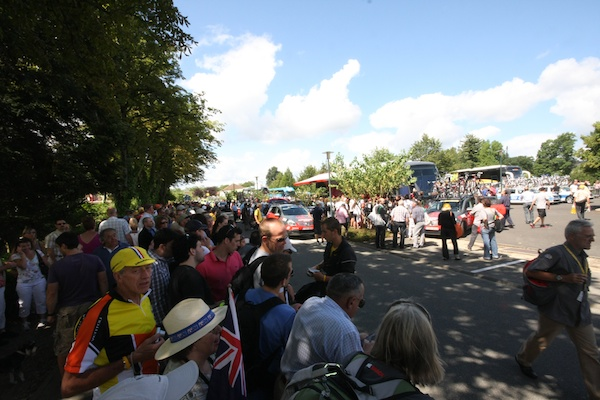 Crowds were out for Armstrong and Schleck