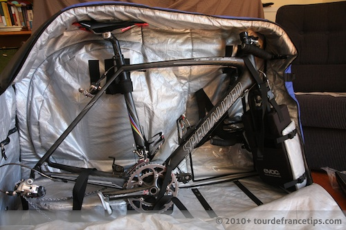 Picture of bike in EVOC bike travel bag